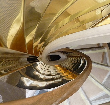Brass staircase for fashion store